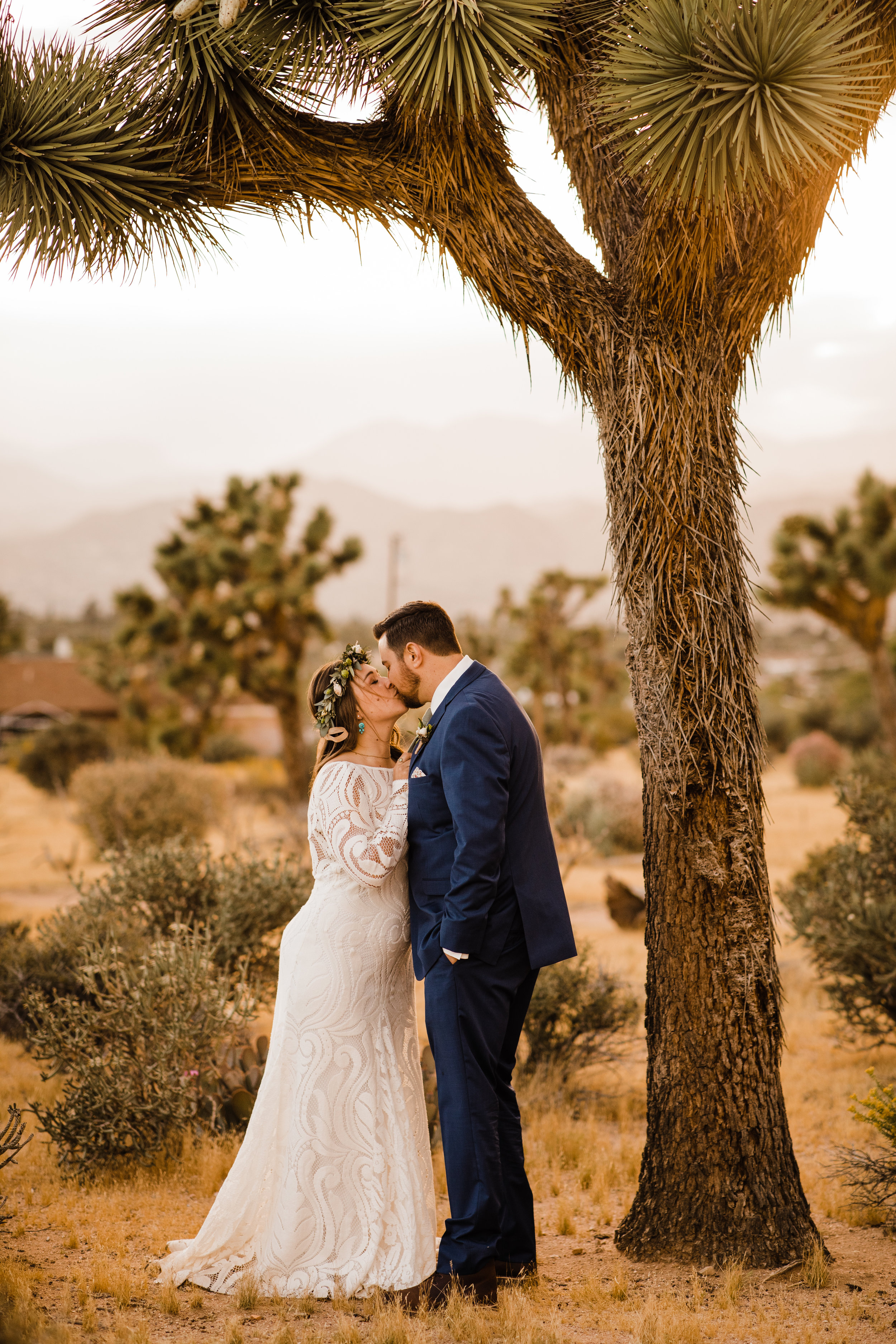 Golden hour portraits of bride and groom at tumbleweed sanctuary