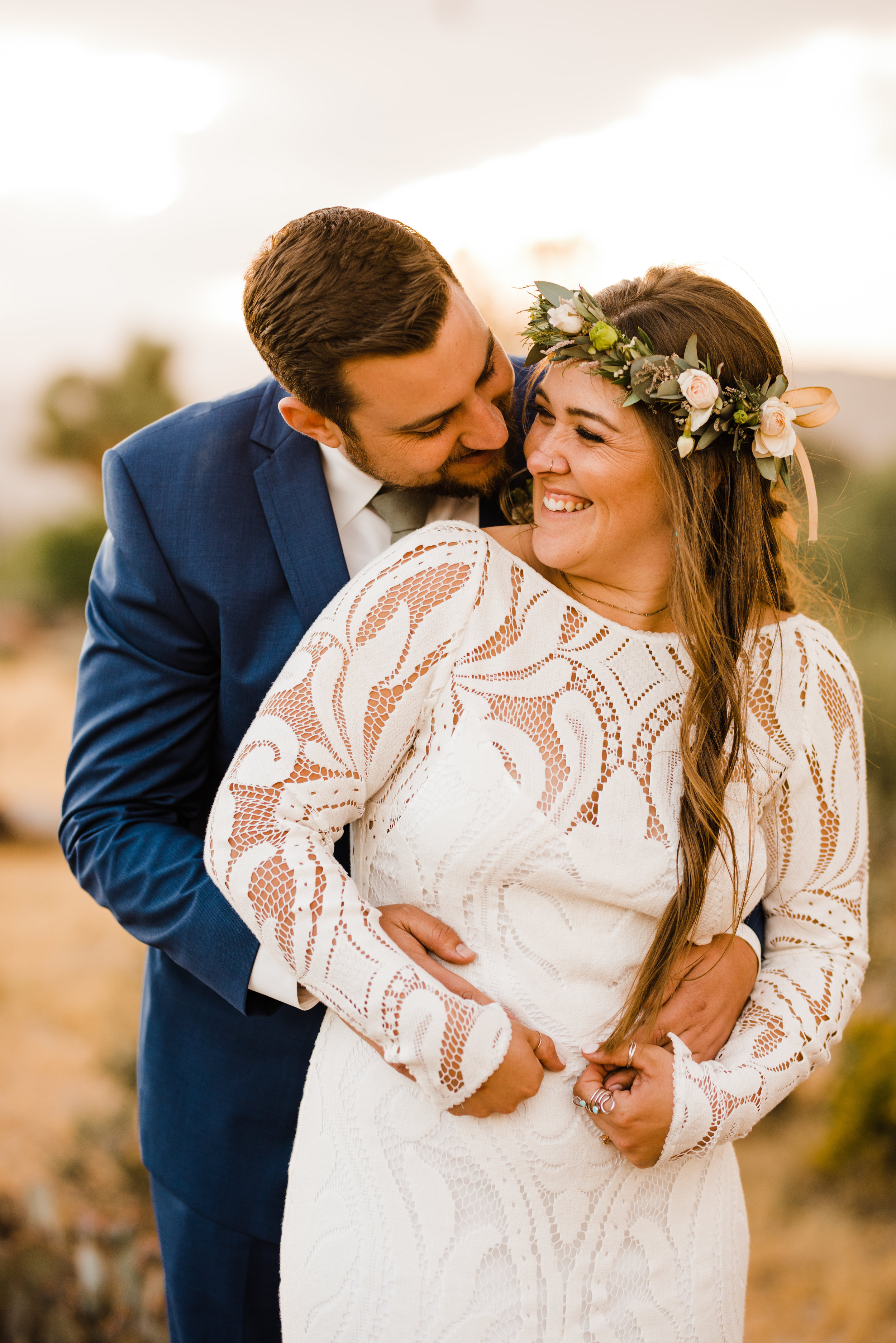 golden hour photos of bride and groom at tumbleweed sanctuary
