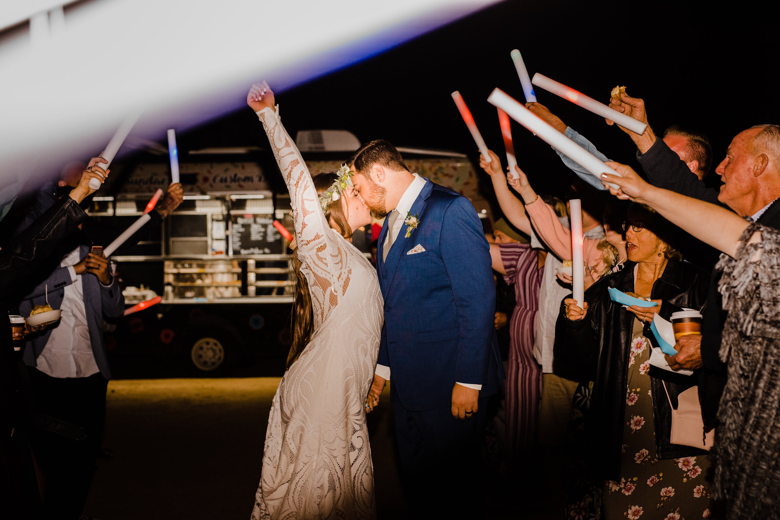 Glowstick exit for bride and groom at tumbleweed sanctuary and garden in Yucca Valley