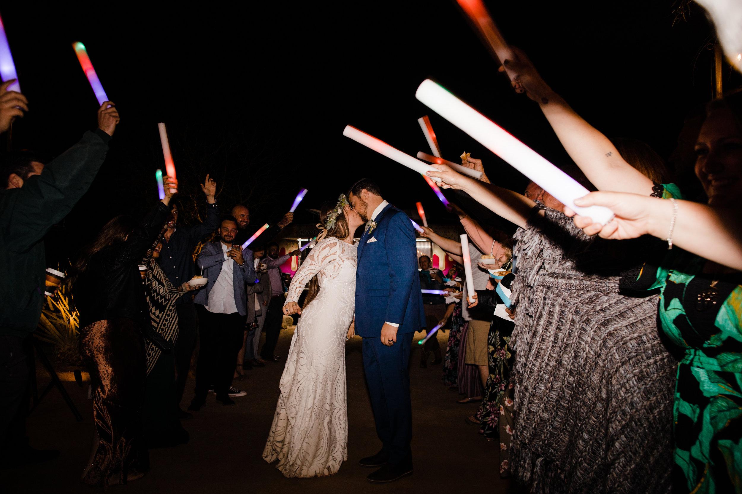 Glow Stick Wedding Reception Exit