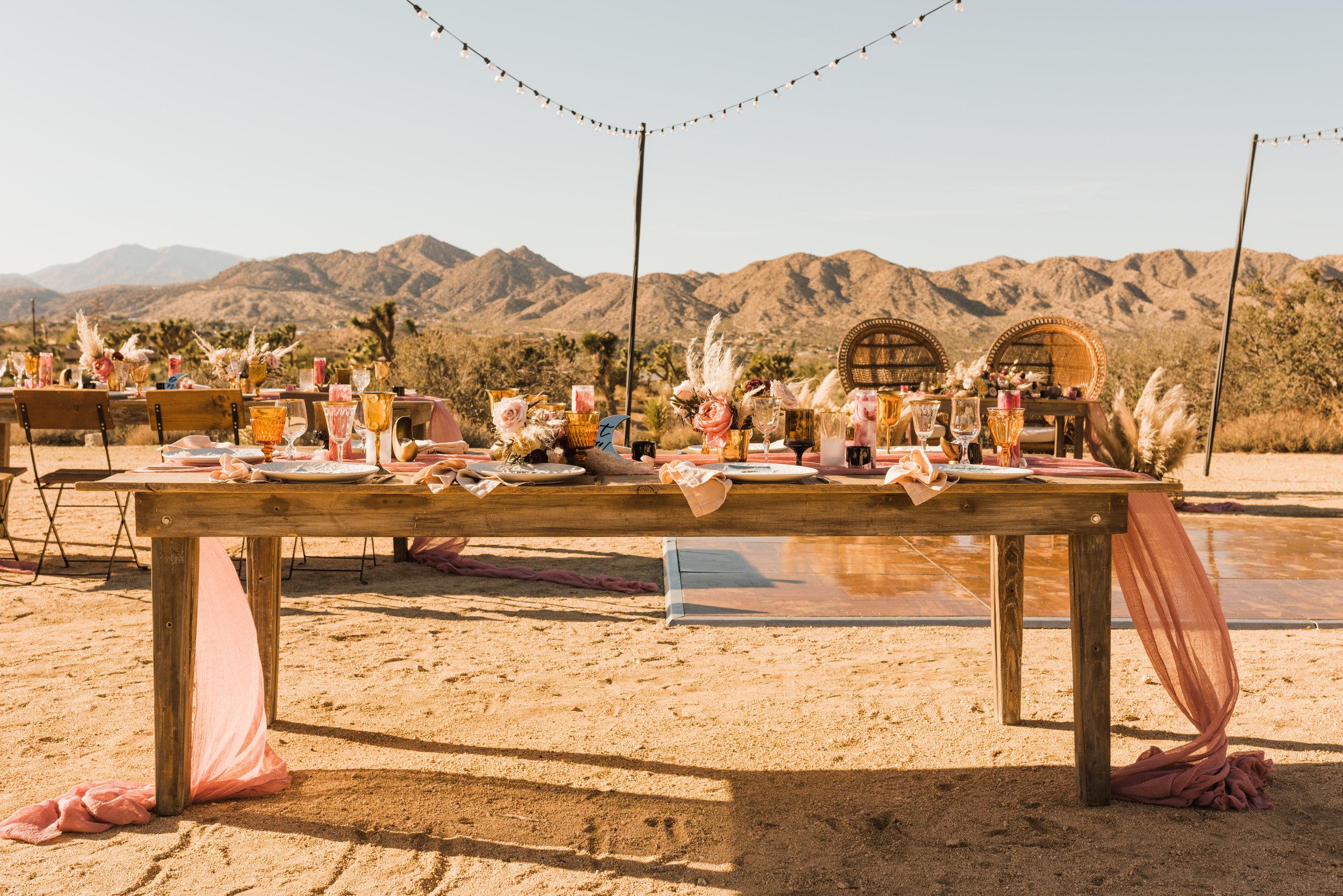 Wedding reception table inspiration at Joshua Tree Boho Indie Wedding