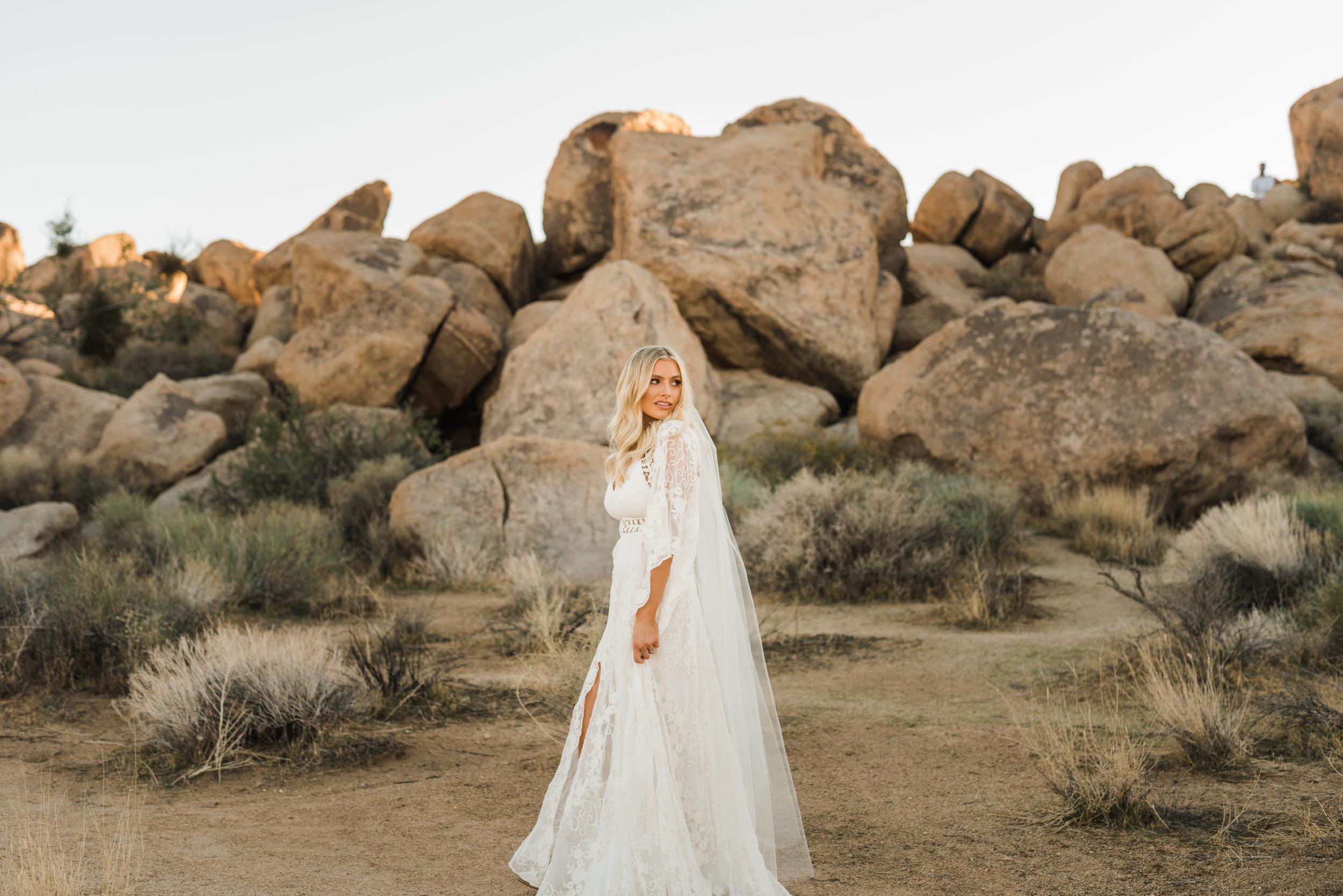 Elopement bride with veil in Rue De Seine dress at Joshua Tree National Park