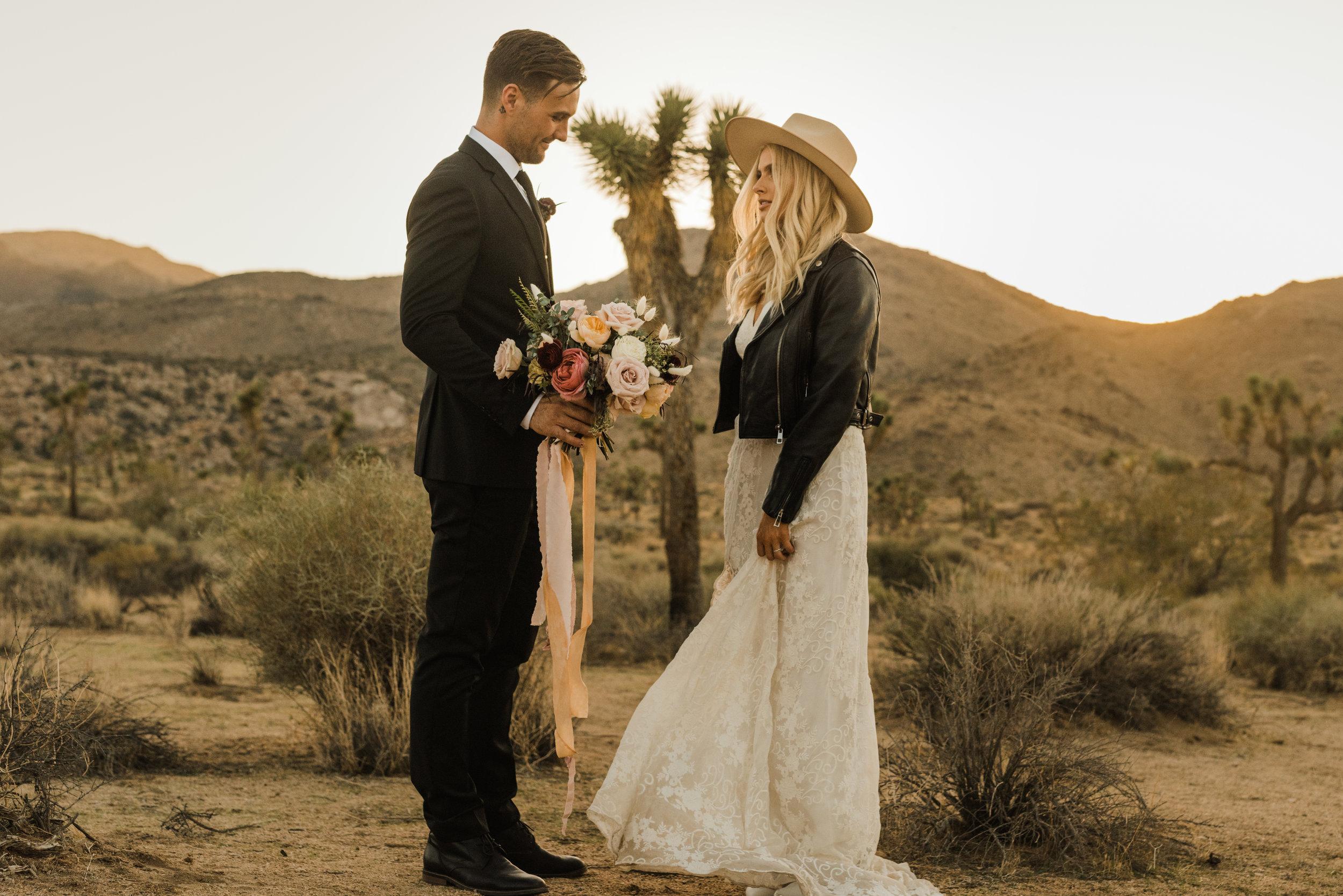 Joshua Tree Desert Elopment with Bride in leather jacket and Rue De Seine dress