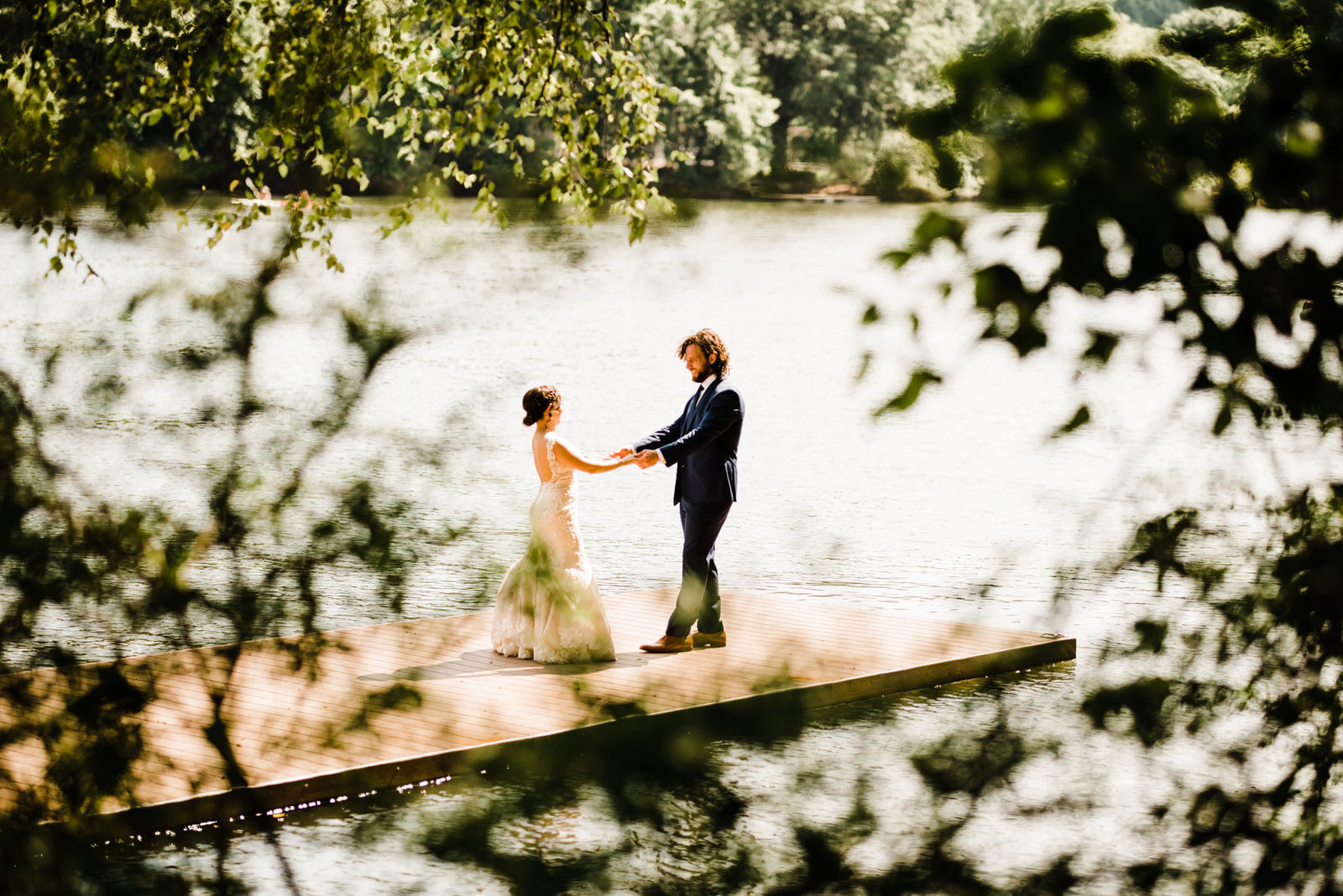"""Bride and Groom Share a """"First Look"""" before Roswell River Landing Ceremony on the Chattahoochee River in Georgia."""