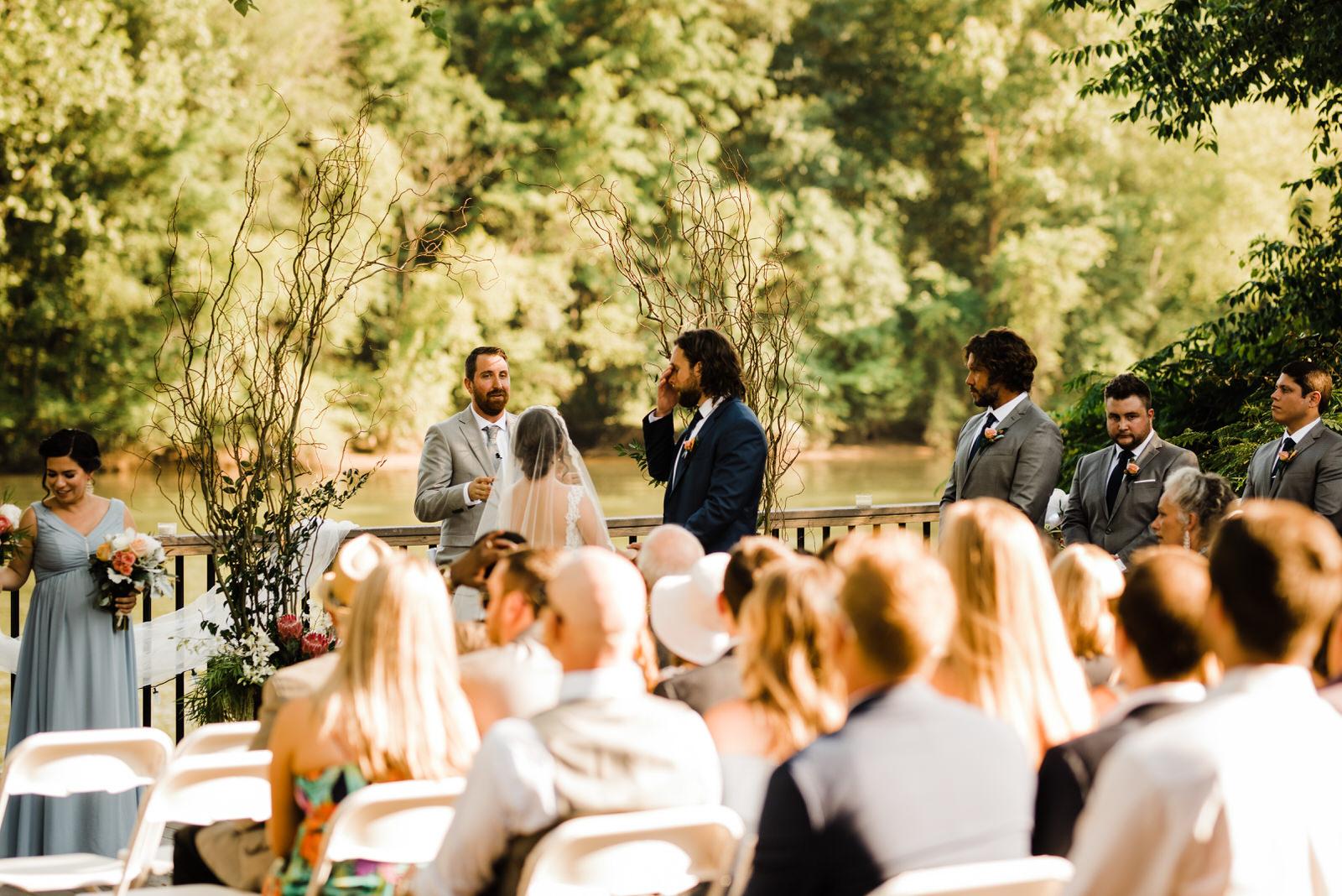 Emotional Groom at Roswell River Landing Wedding