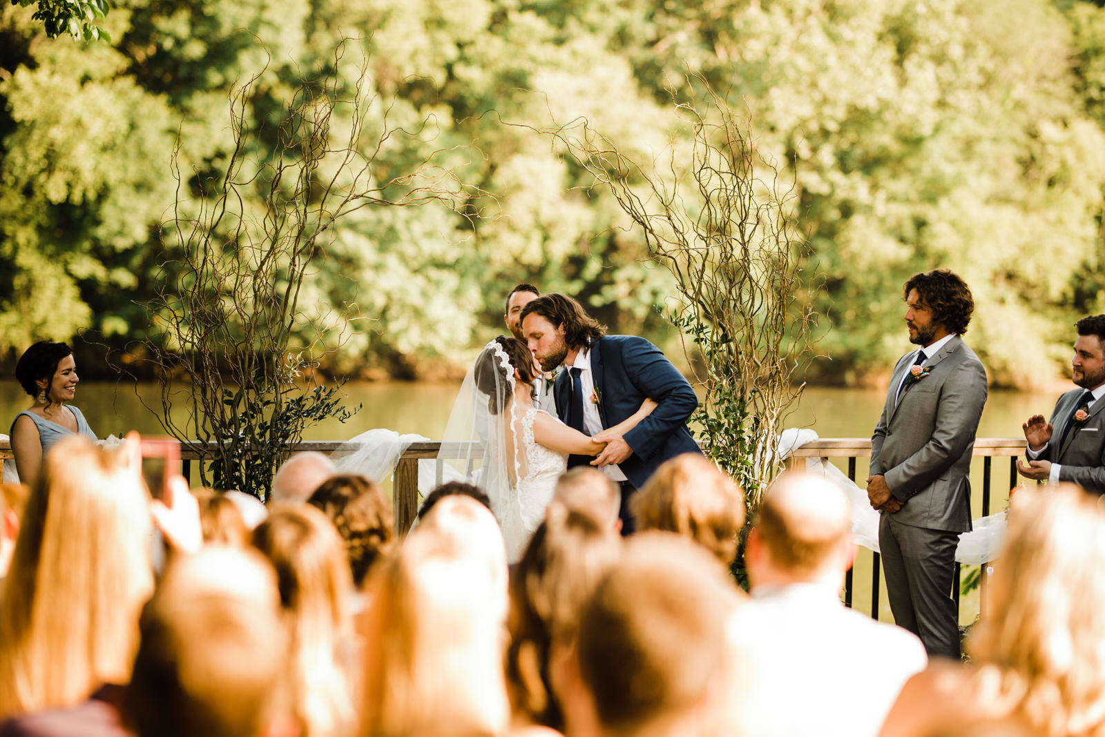 First Kiss at Roswell River Landing Wedding Ceremony