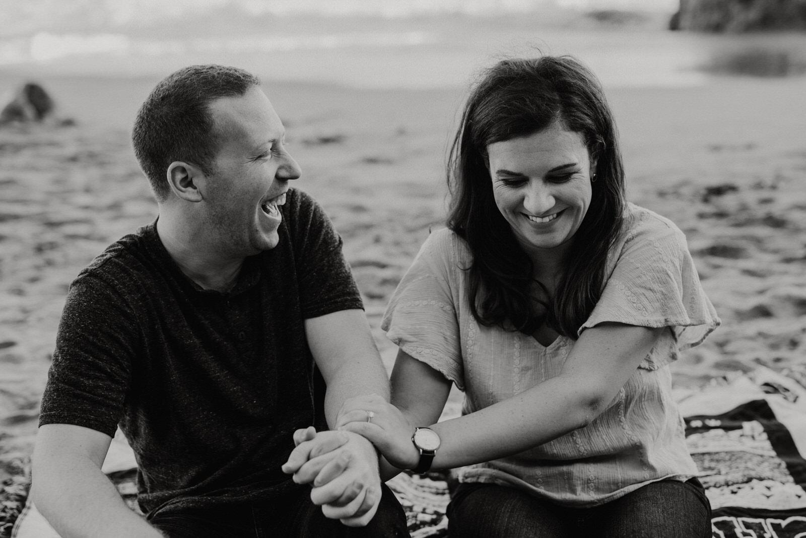 Couple Laughing at El Matador Beach