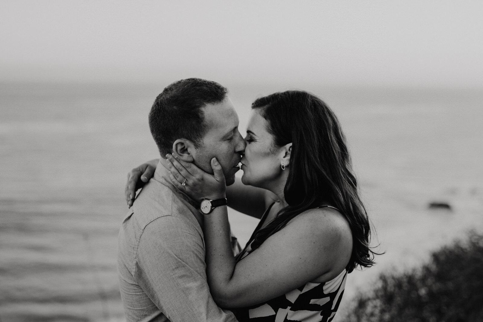 Romantic engagement session on the bluffs at El Matador Beach