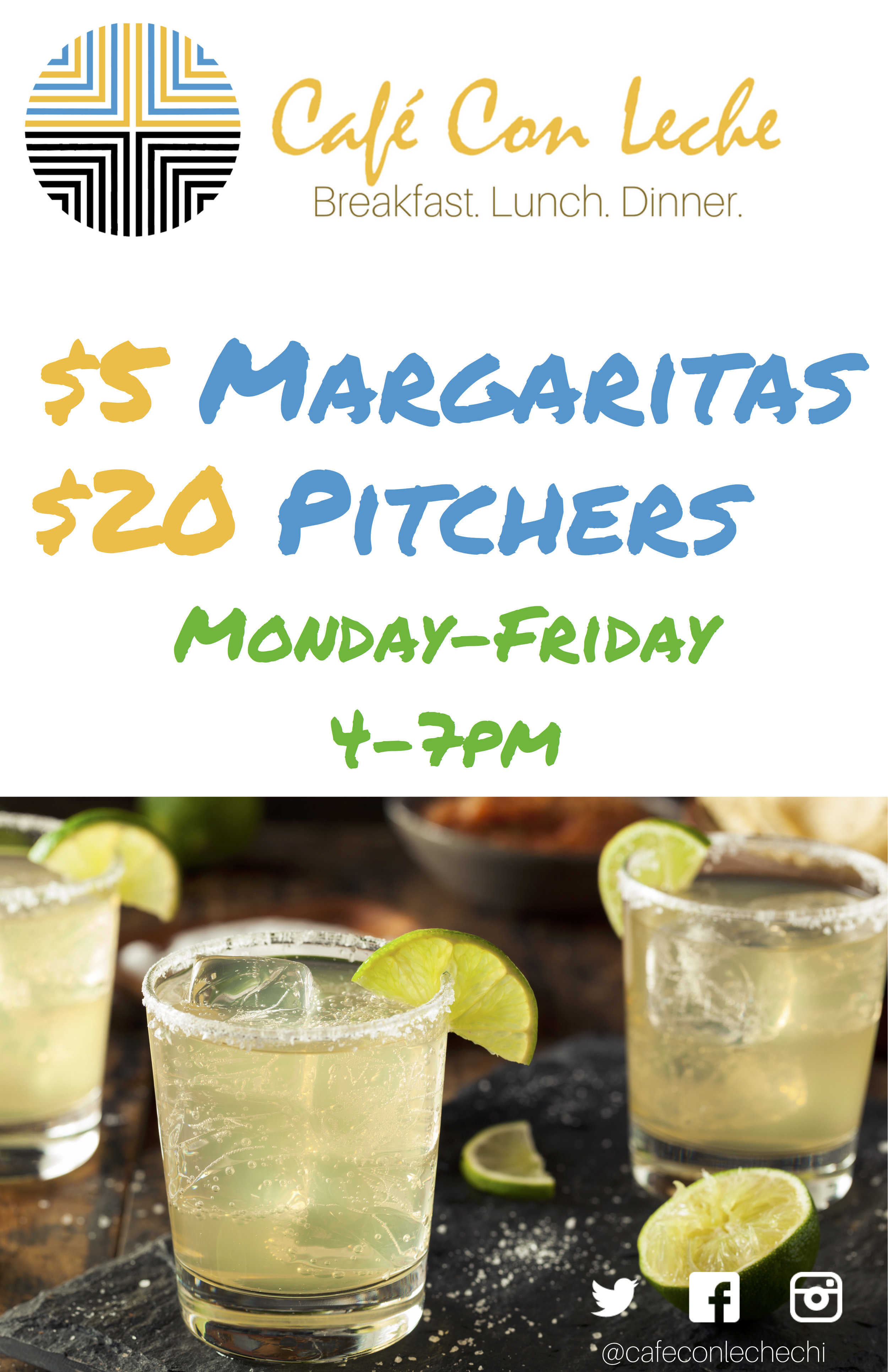 Logan sQuare happy hour specials for 2017 and 2018 at Cafe con Leche.