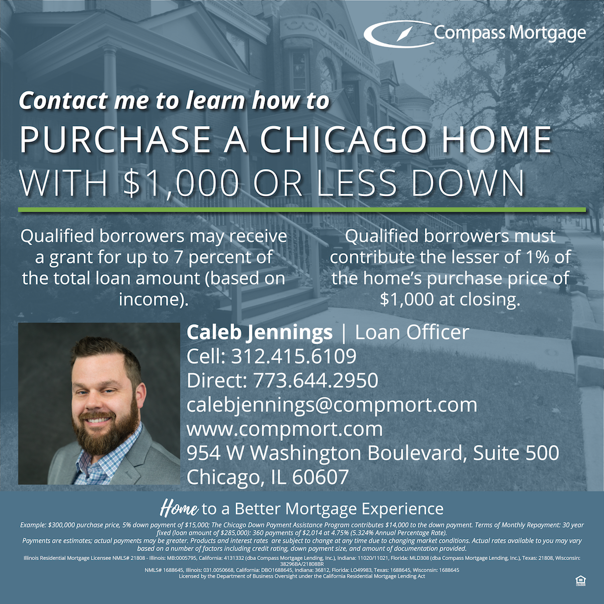 Looking for a home mortgage in Logan Square, Chicago? Caleb Jennings is a friendly local Logan with years of experience in lending. Whether you are a first time home buyer in Logan Square, Chicago, or a home owner looking for a cash out refinance, he will take you through the process.
