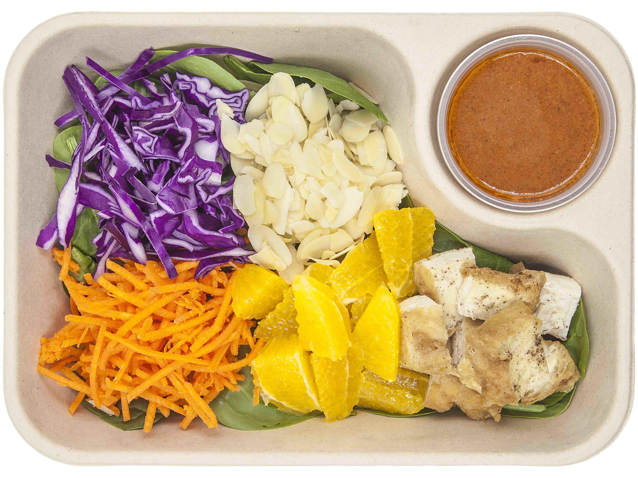 TOFU HANA383 KCAL PER SERVINGINGREDIENTS: Red Cabbage, carrot (strips), Corriander, Shallots, orange chunks, almond,teriyaki glazed tofu, spring onion -