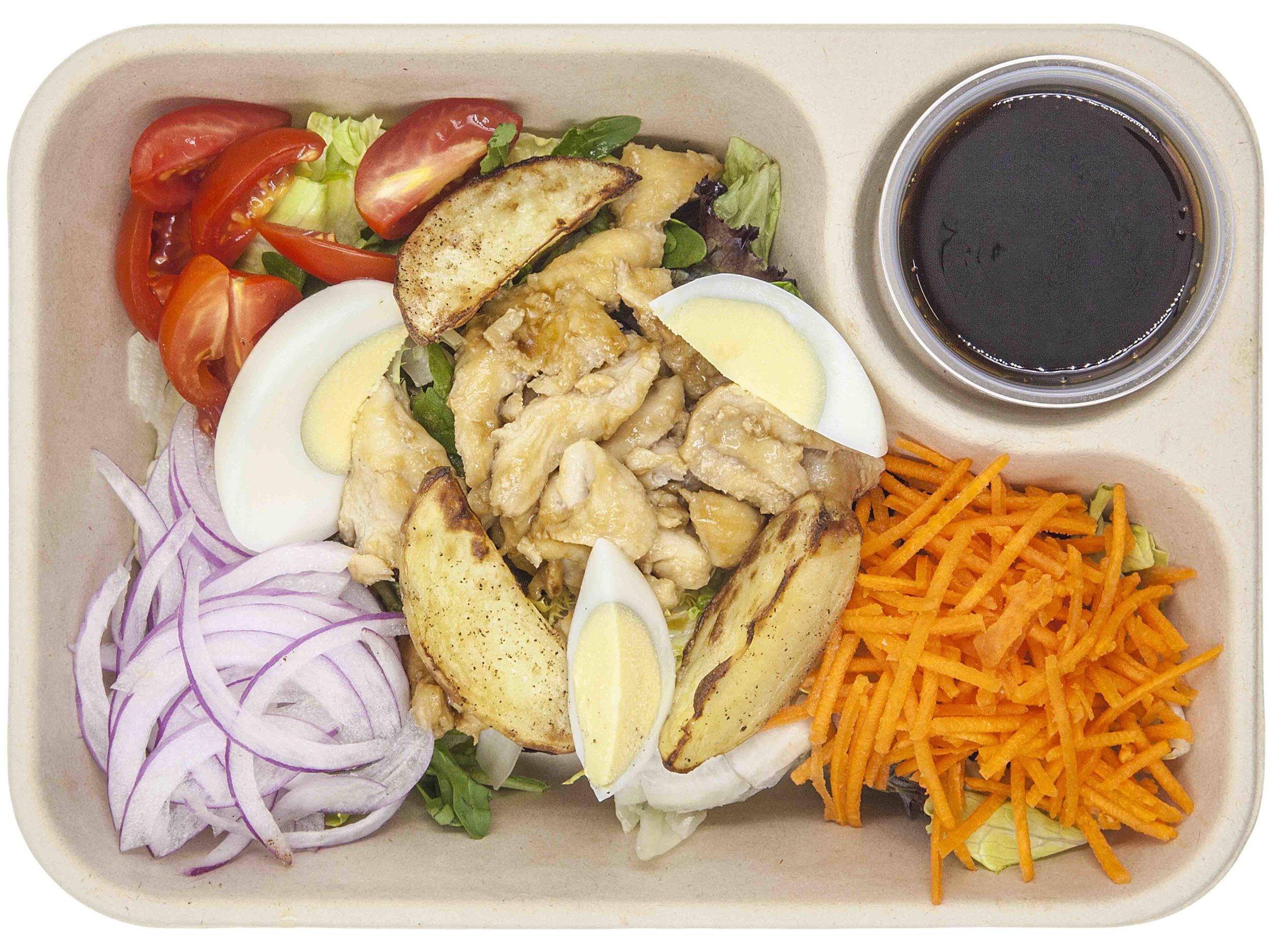 CHICKEN TERIYAKI383.6 KCAL PER SERVINGINGREDIENTS: mixed salad, shredded chicken breast, roasted new potato, egg, carrots, onion, cherry tomato, teriyaki sauce -