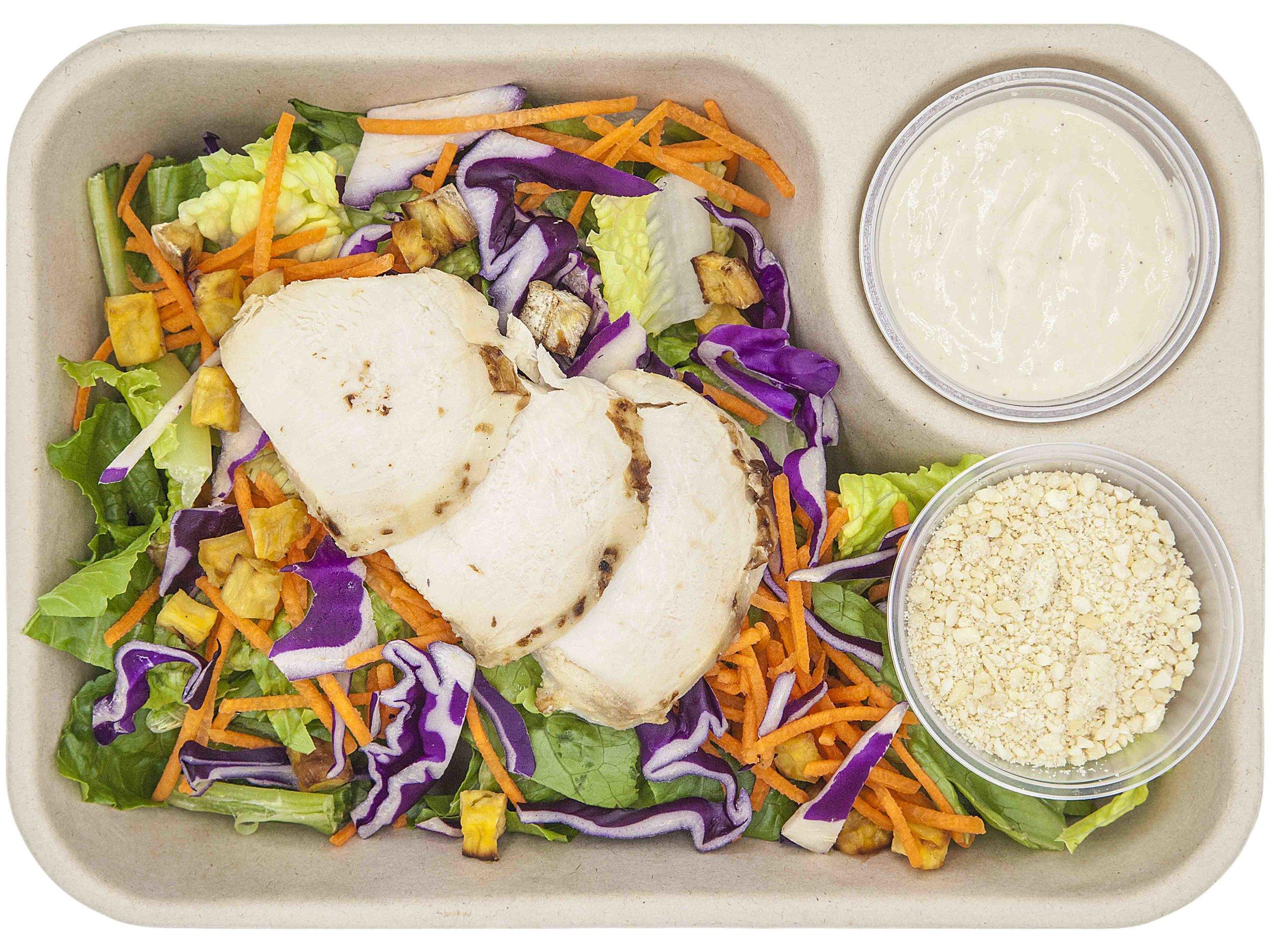 CHICKEN CAESAR356.8 KCAL PER SERVINGINGREDIENTS: diced sweet potato, romaine lettuce, vegan parmesan chesse, sliced chicken breast, 12noon caesar dressing -