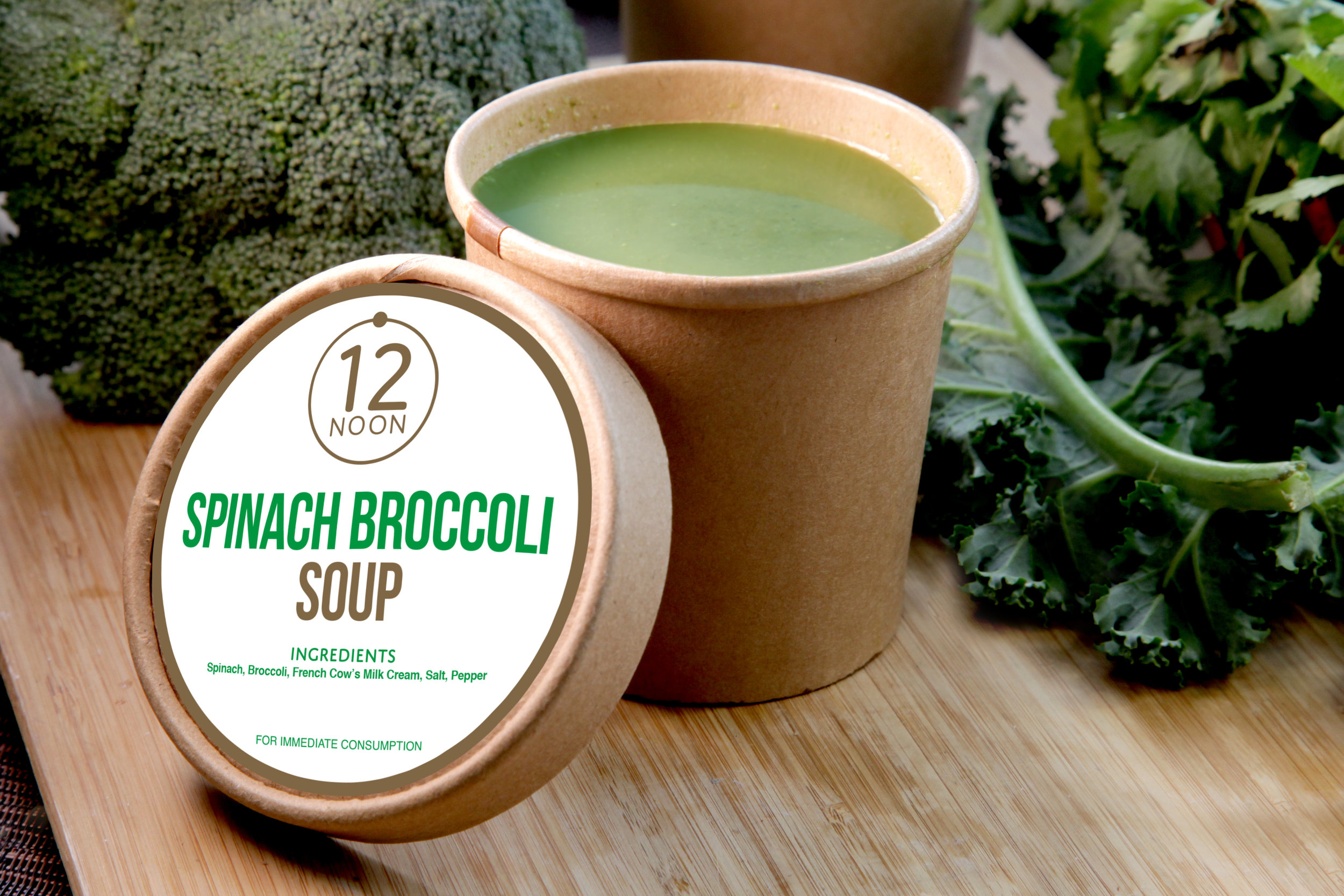 SPINACH BROCCOLI SOUP - 59.9 KCAL PER SERVINGBroccoli, Spinach, Light Cream, Water, Salt And Pepper.$28
