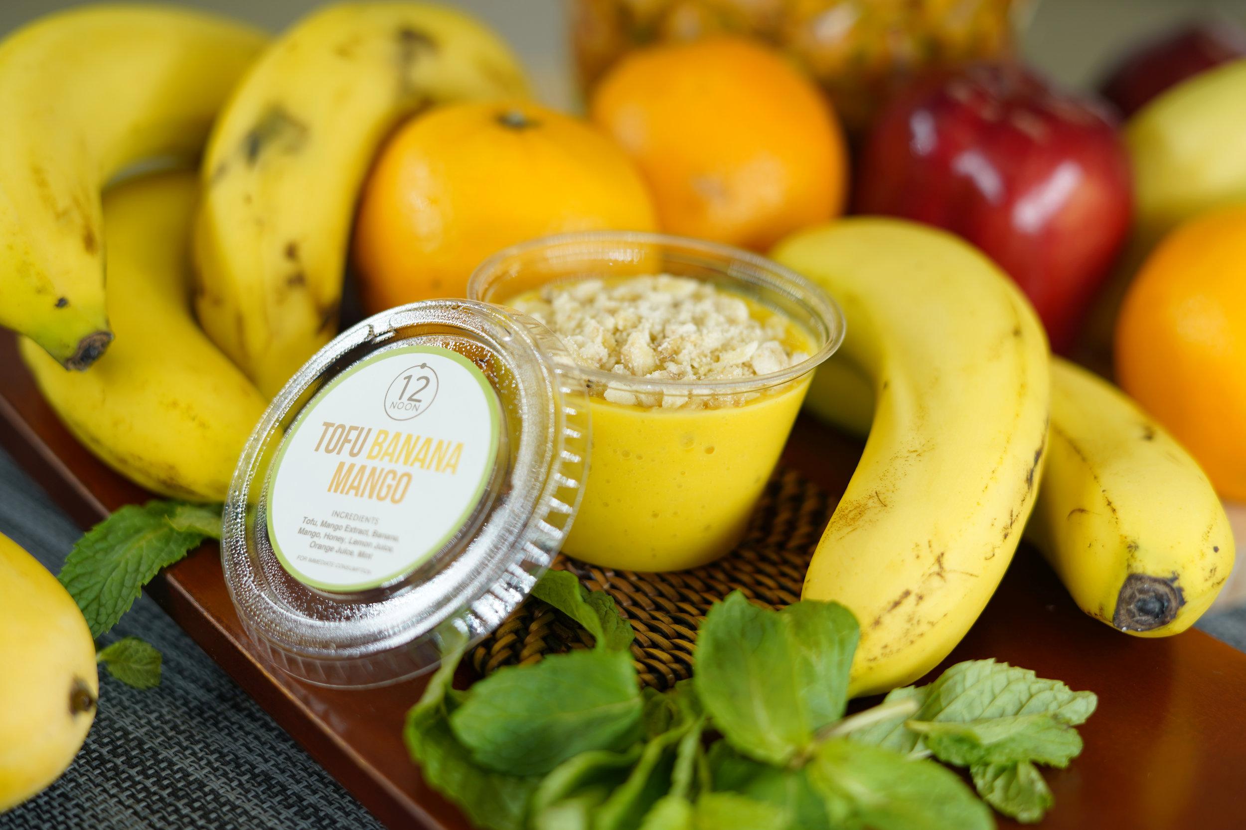 TOFU BANANA & MANGO - 24.6 KCAL PER SERVINGTofu, Banana, Mango, Mango Puree, Honey, Lemon Juice, Orange Juice.$18