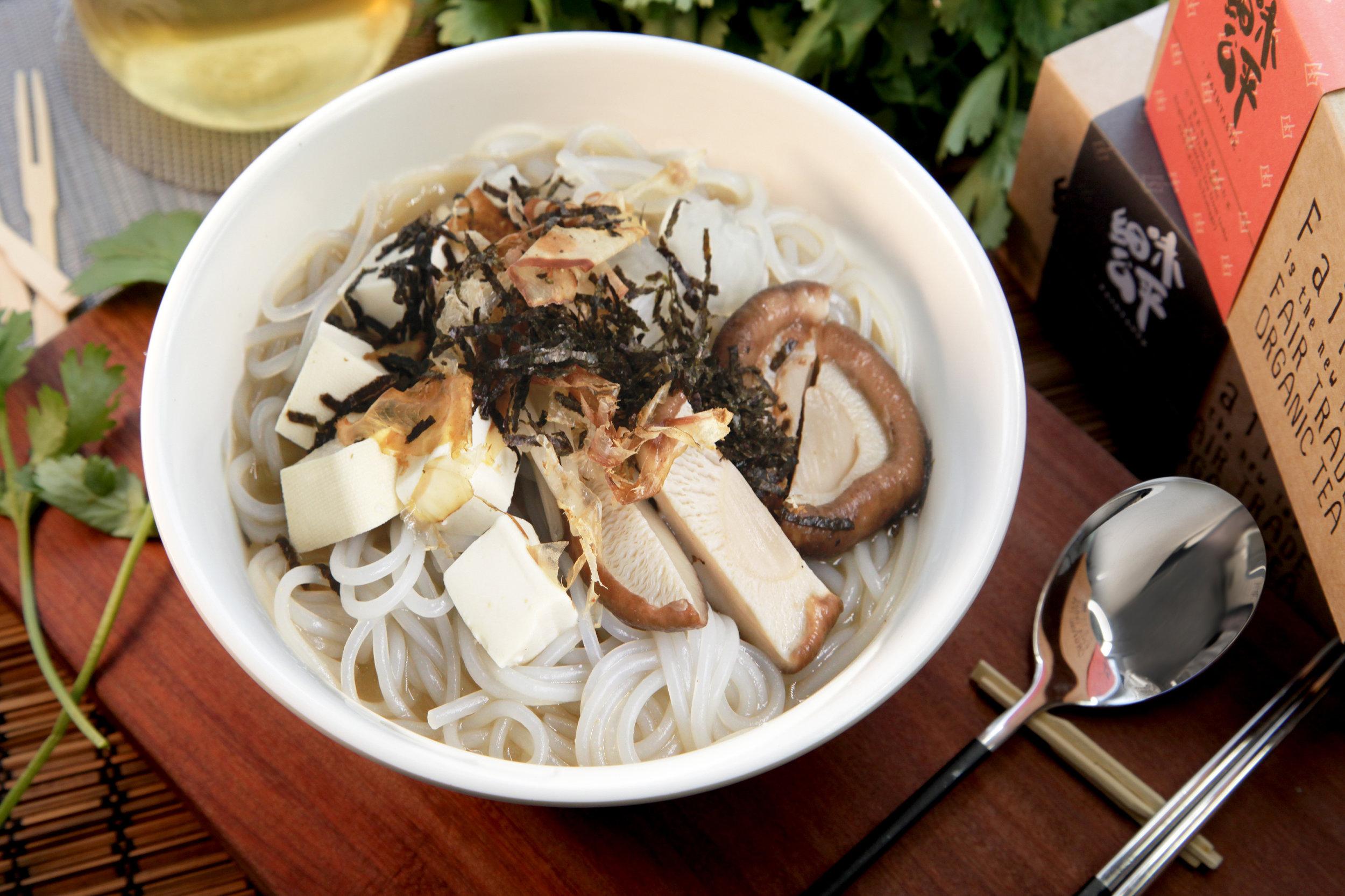 MISO NOON - 81.73 KCAL PER SERVINGMiso Paste, Yam Noodle, Seaweed, Hard Tofu, Bean Sprout, Bonito Flake, Spring Onion, Turnip, Coriander, Shiitake Mushroom.$45