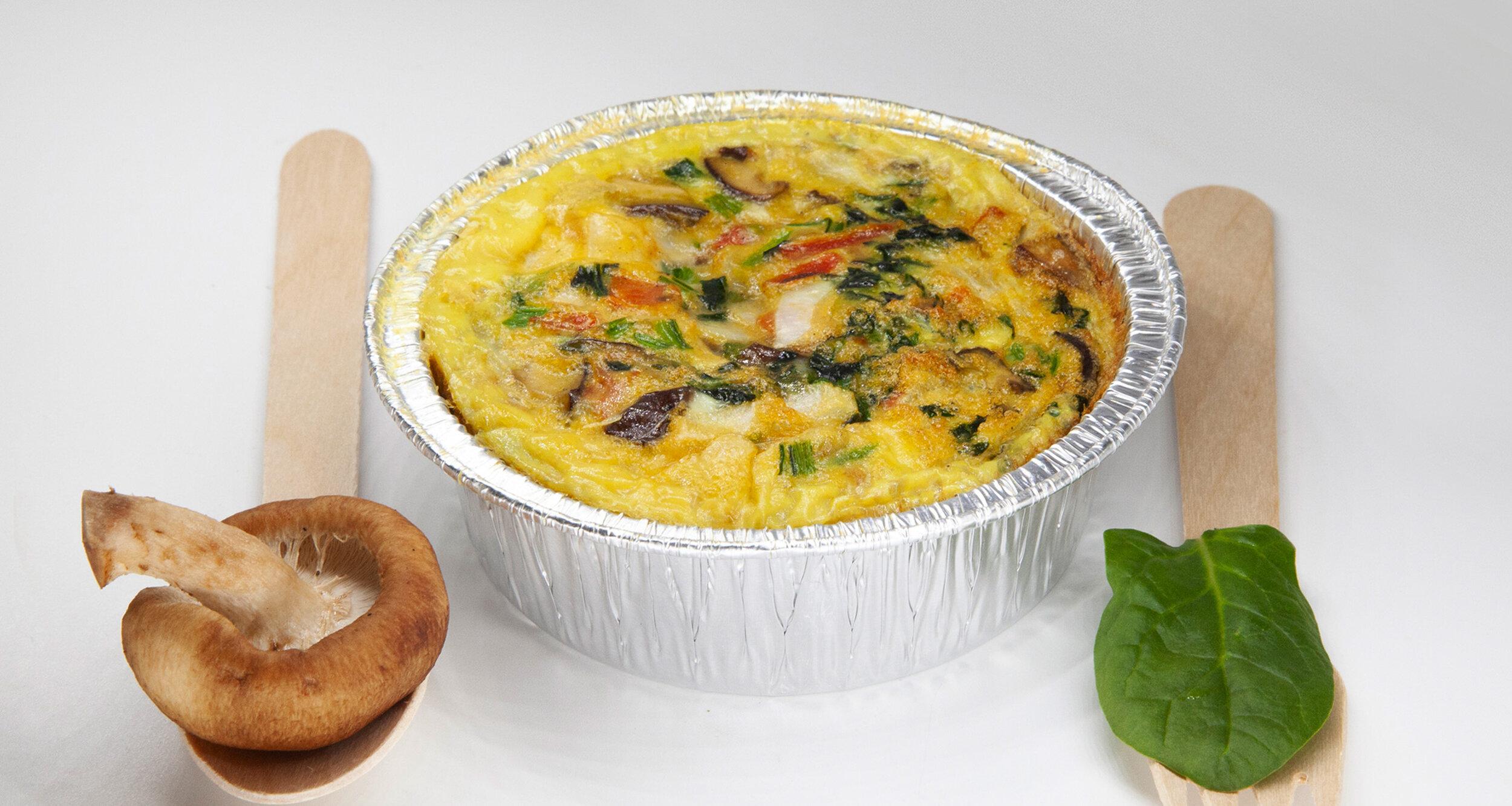 MUSHROOM EGG MUFFIN - 184.3 KCAL PER SERVINGEgg, spinach, tomato, onion, button mushroom, salt, pepper$23
