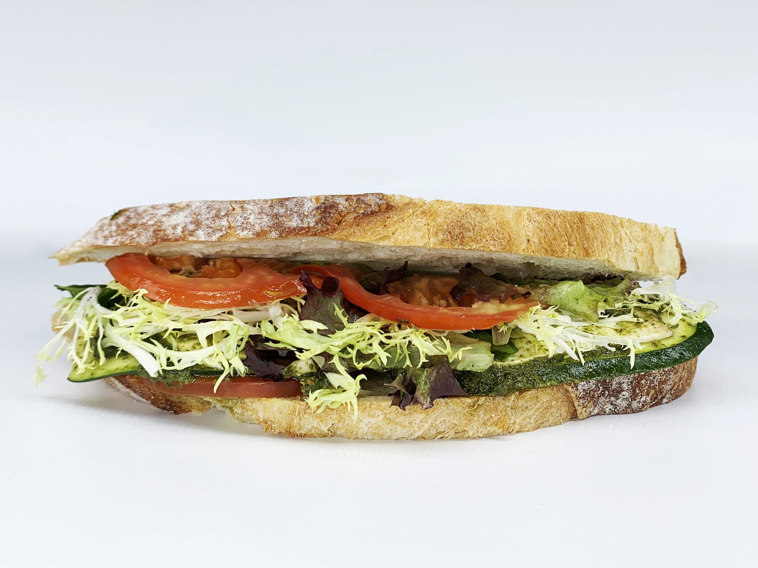 VEGGIE SOURDOUGH - 403.97 KCAL PER SERVINGeggplant, tomato, cucumber, yam, butter lettuce, sourdough bread, vegan mayo, zucchini$32