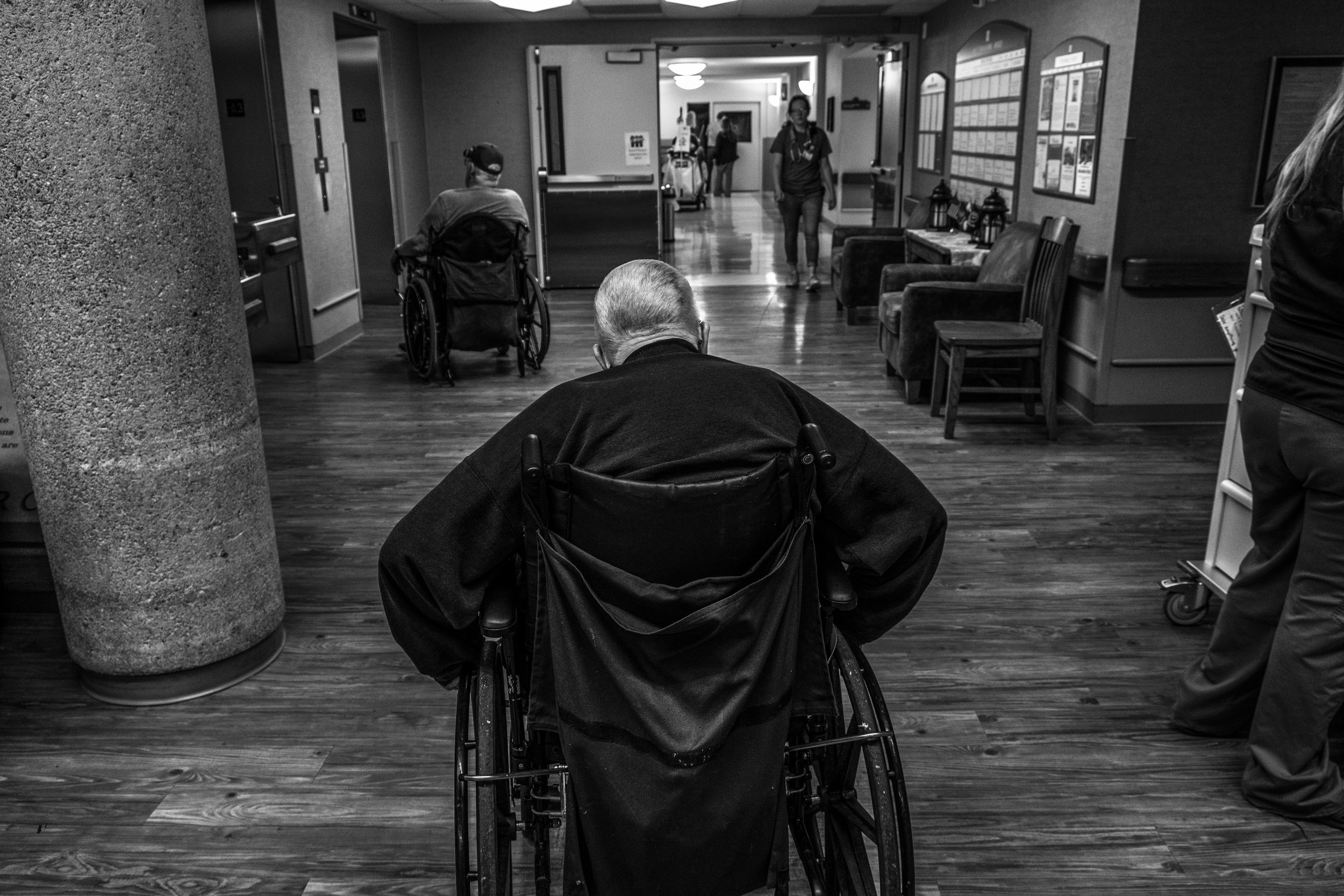 Veterans head to the elevator at the Missouri Veterans Home in Mexico, Missouri on Friday, Jun. 21, 2019. The Missouri Veterans home cares for 150 veterans from all branches of the military.
