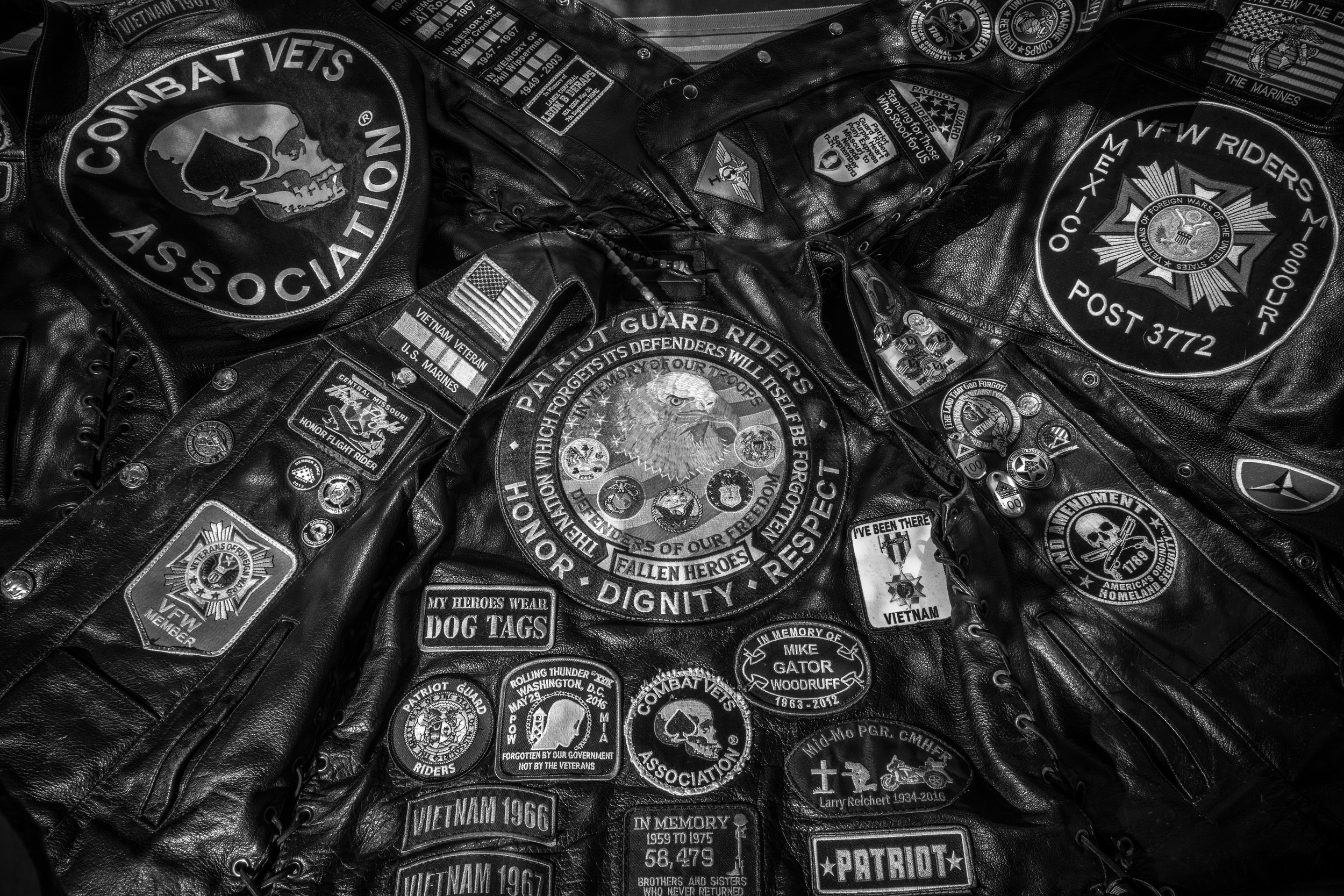 Bill Weldon's motorcycle vests as seen on Thursday, Jun. 20, 2019. Weldon belongs to several veteran focused motorcycle organizations and serves as a Senior Ride Captain for the Patriot Guard Riders. The Patriot Guard is known for motorcycle escorts for and flag displays at veteran funerals.