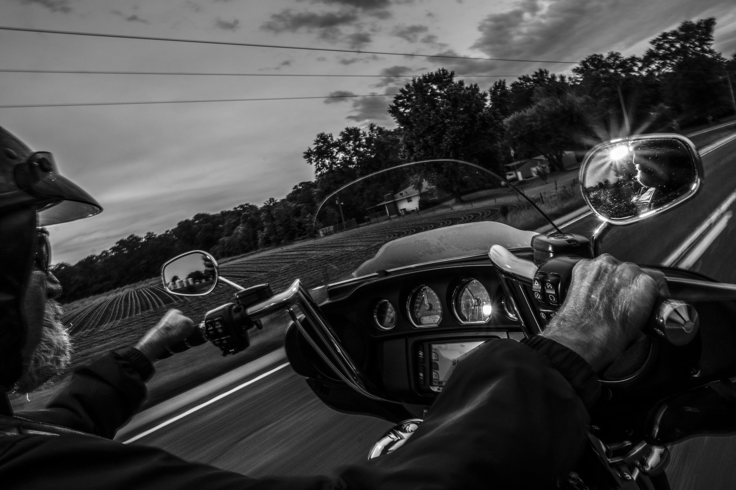 Patriot Guard Rider and Senior Ride Captain, Bill Walden, rides his motorcycle near Mexico Missouri on Friday, Jun. 21, 2019. Bill has escorted over 500 veteran funerals during his time with the organization.