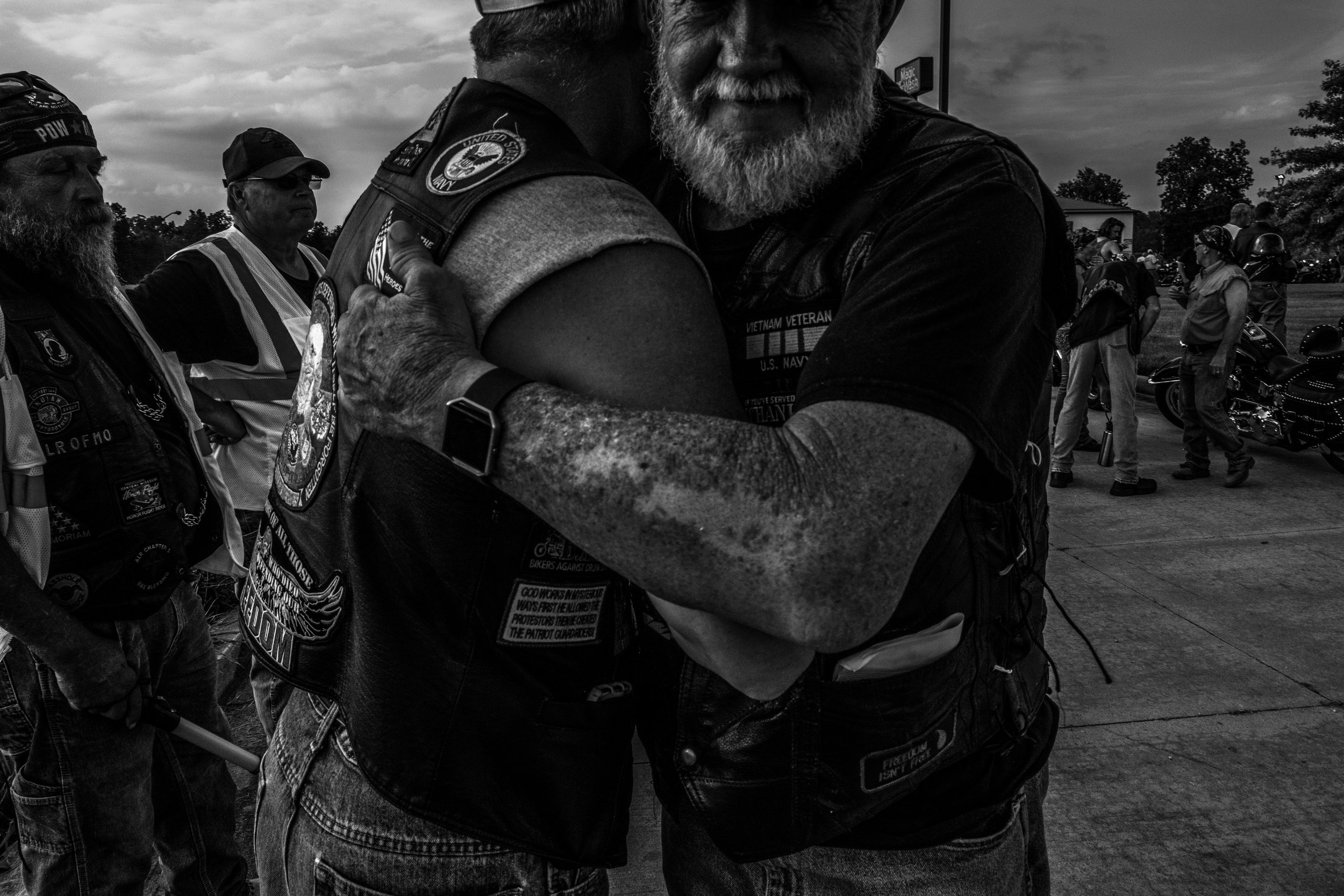 Patriot Guard Riders welcome each other to Honor Flight 58 in Kingdom City, Missouri on Tuesday, Jun. 18, 2019. This Honor Flight ride featured 256 motorcycles for the 26 mile escort to the Marriott Hotel in Columbia, Missouri.