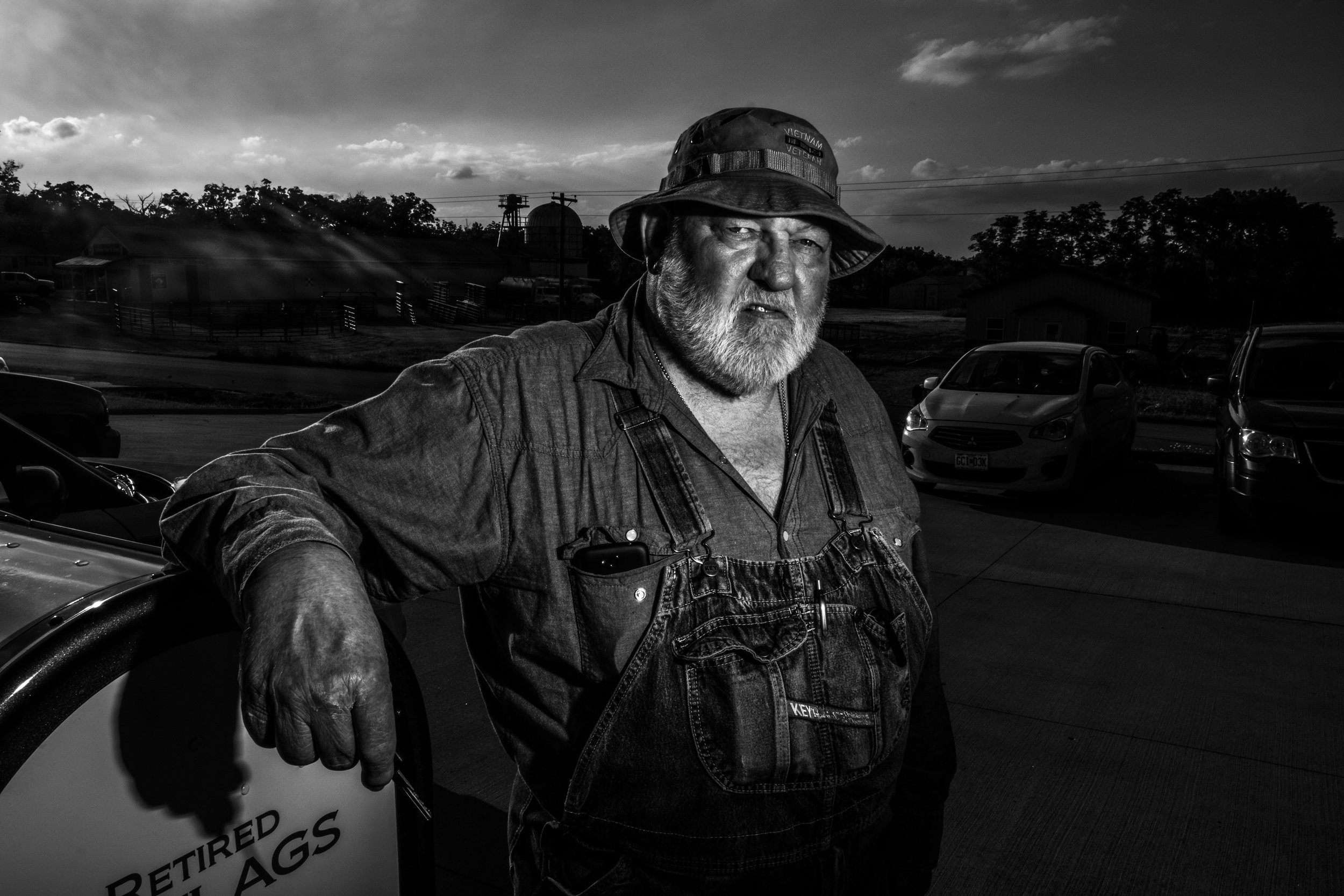 US Navy veteran and Vandalia resident, Randy Caldwell, poses for a portrait outside the VFW on Thursday, Jun. 20, 2019. Caldwell has been a lifetime member of the VFW and served as diesel mechanic in Vietnam in 1969.