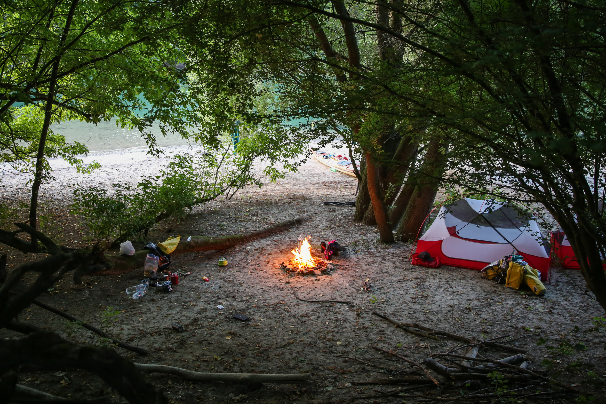 Camping on the Rhine, Germany, Kayaking the Continent expedition