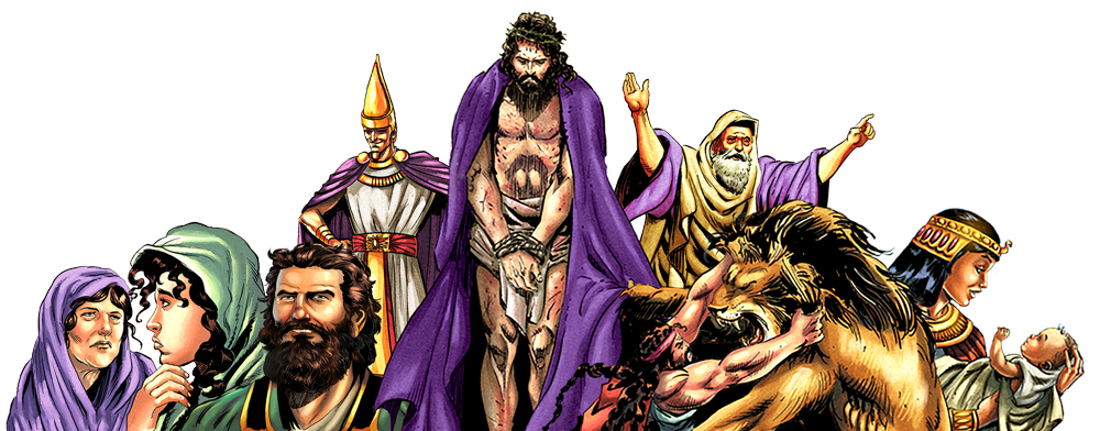 A SELECTION OF THE BEAUTIFUL CHARACTER ILLUSTRATIONS FROM THE ACTION BIBLE   (© ACTION BIBLE)