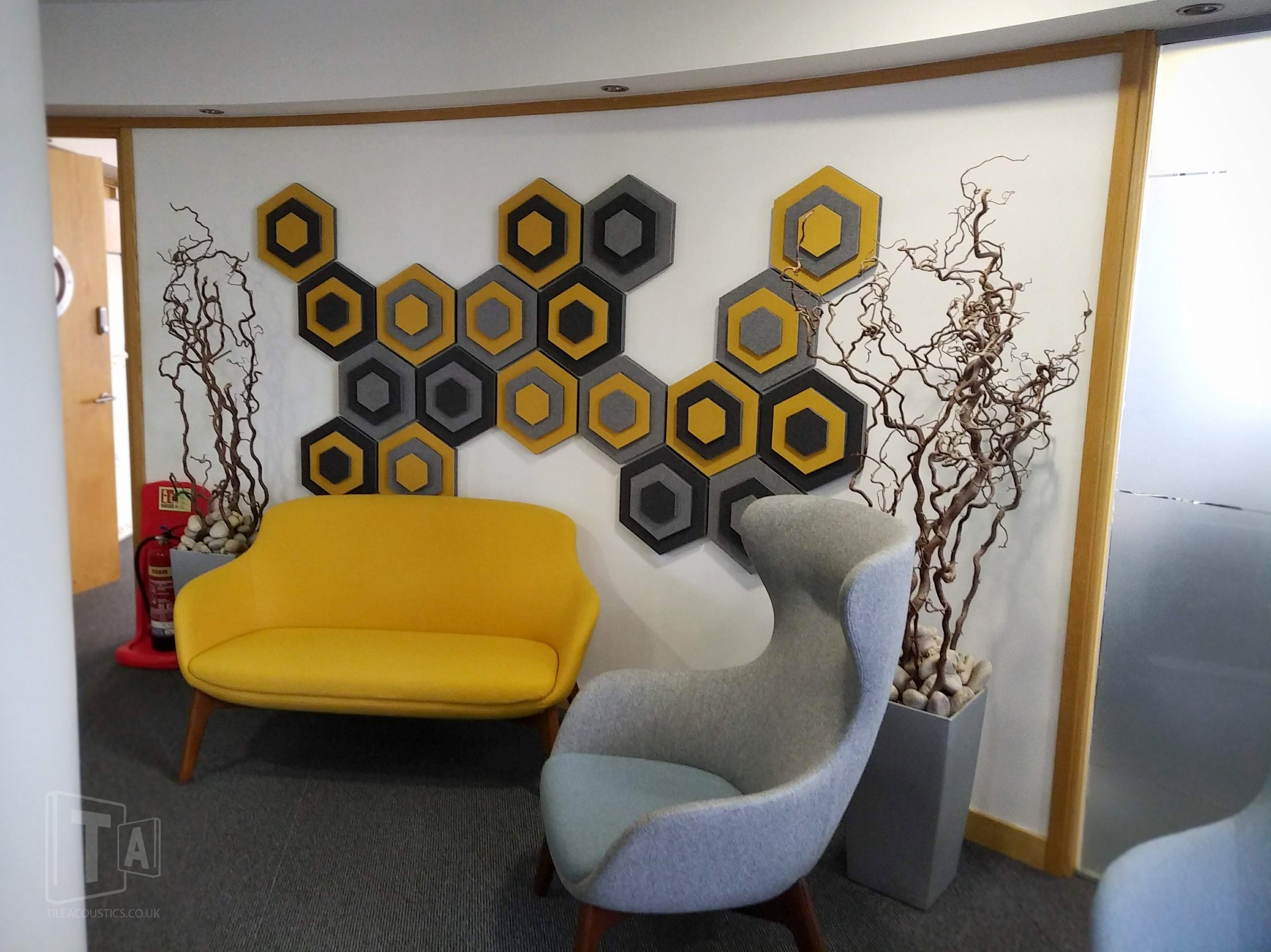 office hexagon acoustic tiles
