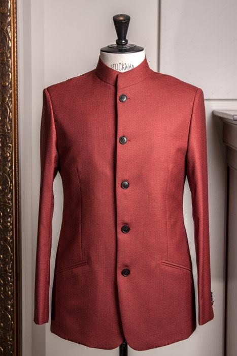 - Nehru Mao Collar Jacket Suit Crispaire Red Solid