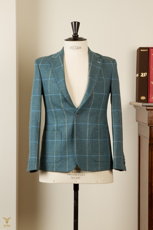 - Equestrian Tailored Tweed Blazer Jacket Kingfisher Blue Windowpane Grouse Moor