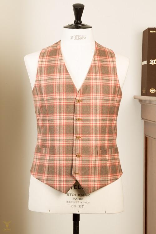 - Waistcoat Terracotta Plaid Check Cashmere Super 100's Wool