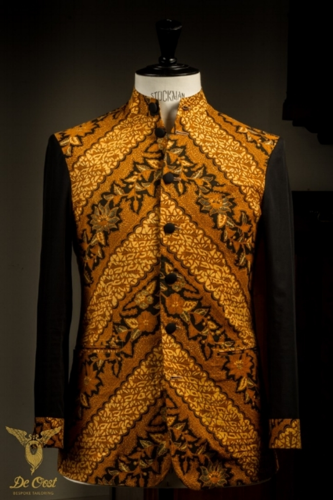 - Unlined Batik Jacket Nehru Collar Hand Tailored Napolitano Sartorial Techniques