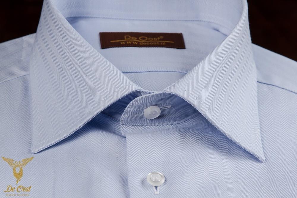 Blue Herringbone Dress Shirt With Double Cuffs