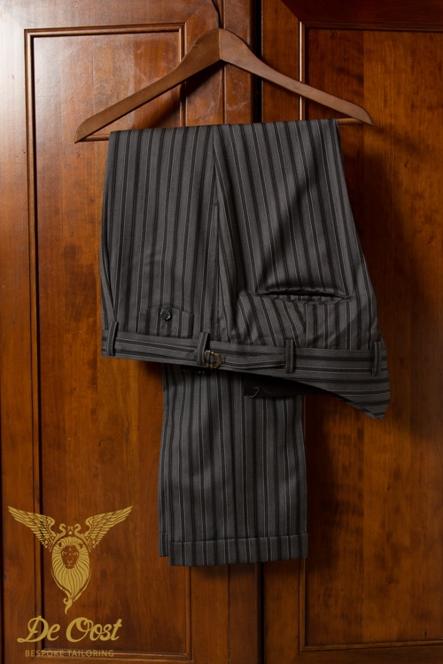 Fishtail Trousers tailored with a Gray Morning Stripe fabric of 250 grams / 8 oZ, 100% Super 150's Worsted Wool.