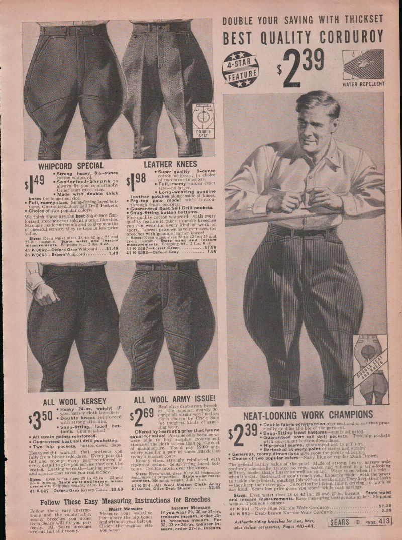 1938's ad for Whipcord riding breeches / jodphur.