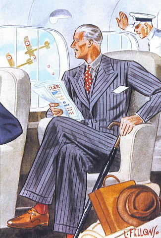 Laurence Fellows illustration of a gentleman in classic striped suit.