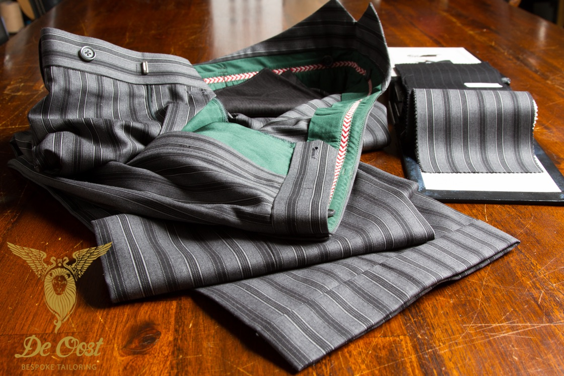 Grey Morning stripe trousers with fishtail and cuffs.