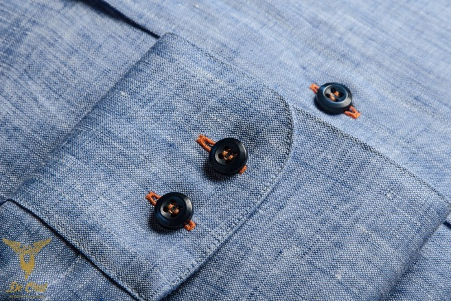 Blue Denim Off Duty Dress Shirt With Button Down Collar And Double Button Bevelled Cuffs