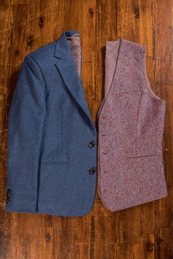 - 3 Piece Flannel Classic Wedding Suit Modern Style Holland&Sherry Cerruti Knitwear Waistcoat