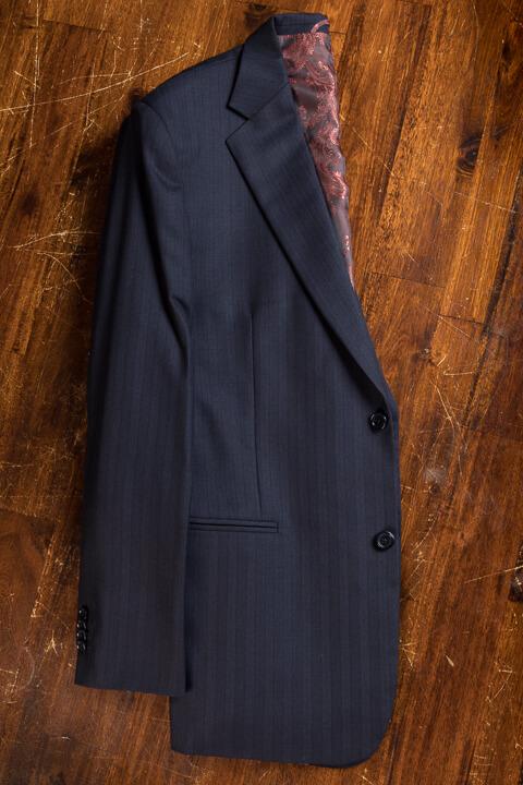 - Midnight Blue Herringbone Bespoke Suit Classic Work Suit 2 Button Holland&Sherry
