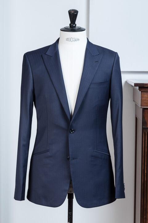 - Navy Blue Modern Classic Herringbone Suit 2 Button Notch Lapel Slanted Pockets