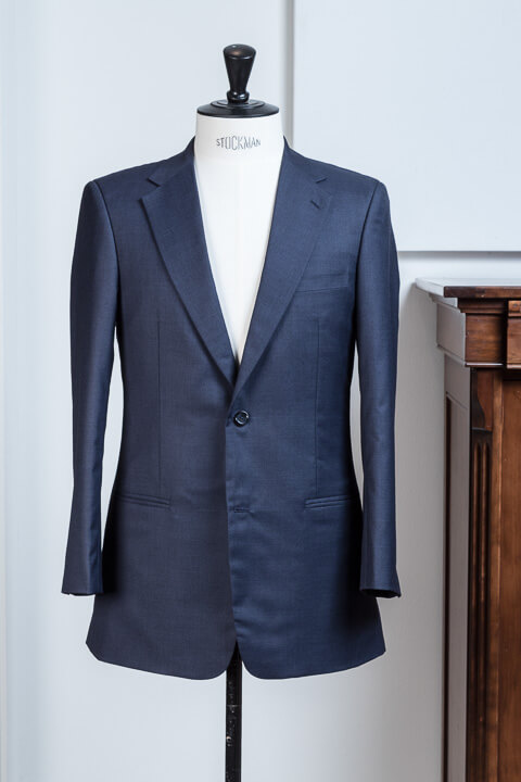 - 2 Button Bespoke Suit Navy Sharkskin 340gr 11oz Worsted Wool Classic Heavy Weight