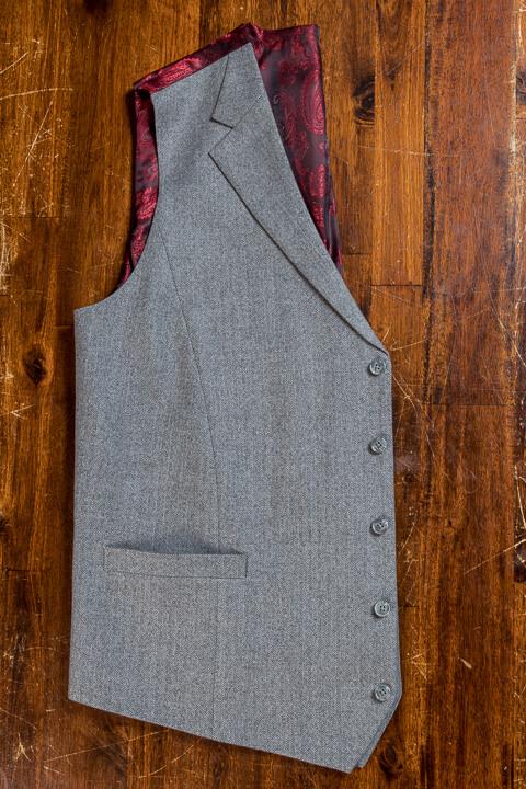 - Bespoke Hand Made Light Grey Herringbone Waistcoat