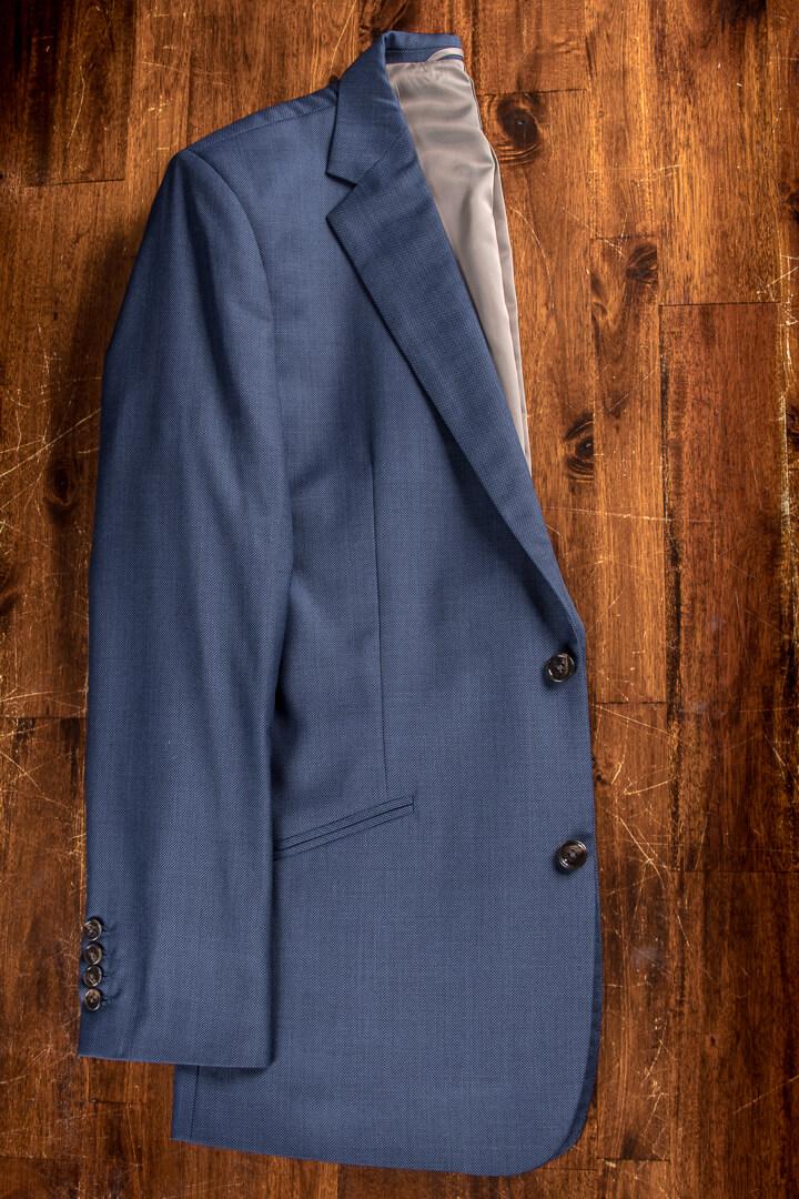 - Birdseye Grey Blue Suit Brown Buttons Super 120s Wool Dutch Design
