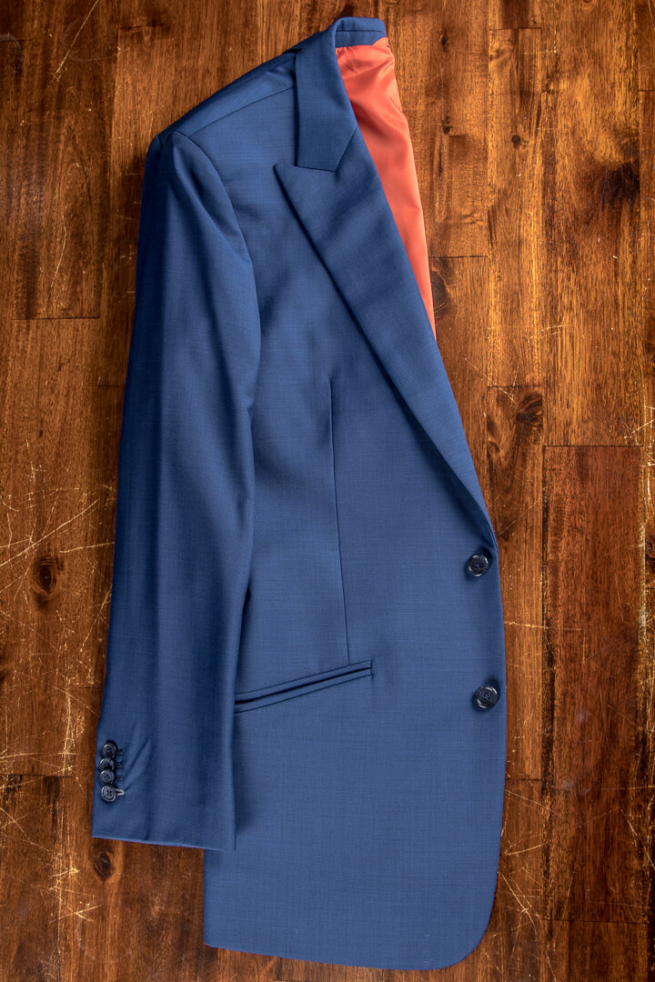 - Blue Pinhead 3 Piece Suit Koi Carp Accents With Waistcoat Full Canvas