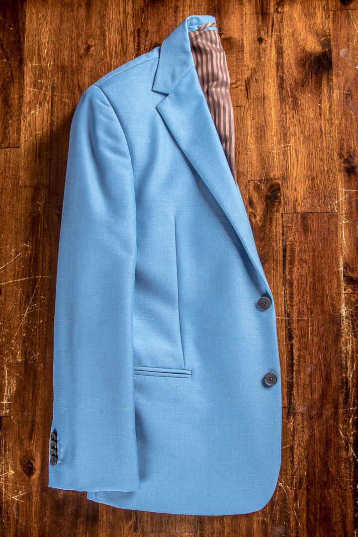 - Baby Blue Mohair Heavy Weight Modern Suit Vintage Accents