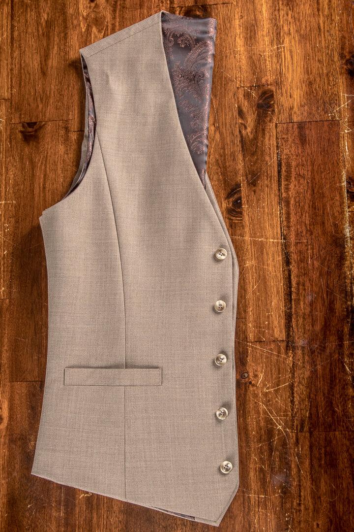 - Sand Colour Oatmeal Barley Corn Crease Free Waistcoat Pinhead Nailhead With Fabric Back