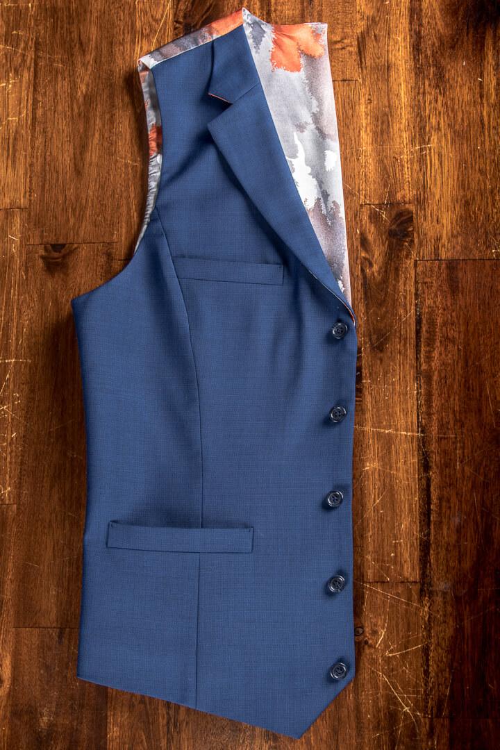 - Bespoke Blue Pinhead Waistcoat With Koi Carp Lining Notch Lapel And Breast Pocket